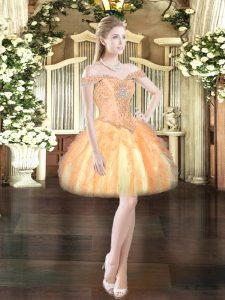 Beading and Ruffles Prom Dress Orange Red Lace Up Sleeveless Mini Length