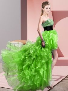 Edgy A-line Sweetheart Sleeveless Organza High Low Lace Up Beading and Ruffles Prom Dress