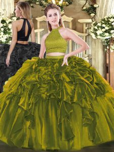 Comfortable Olive Green Organza Backless Halter Top Sleeveless Floor Length 15th Birthday Dress Beading and Ruffles