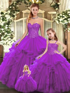 Perfect Eggplant Purple Ball Gowns Sweetheart Sleeveless Organza Floor Length Lace Up Beading and Ruffles Quinceanera Gown