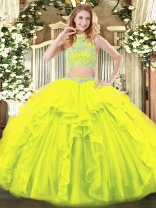 Sleeveless Tulle Floor Length Backless Quinceanera Dresses in Yellow Green with Beading and Ruffles
