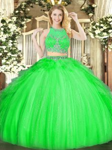 Sleeveless Zipper Floor Length Beading and Ruffles Sweet 16 Dresses