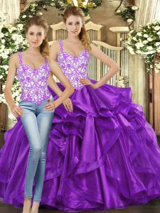 On Sale Ball Gowns Quinceanera Gowns Eggplant Purple Straps Tulle Sleeveless Floor Length Lace Up