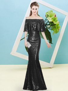 Customized Sequins Prom Dresses Black Zipper Half Sleeves Floor Length