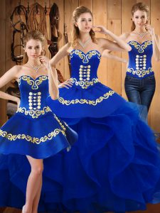 Admirable Sleeveless Organza Floor Length Lace Up Sweet 16 Dresses in Blue with Embroidery and Ruffles