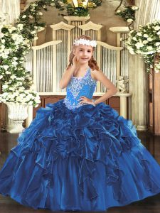 V-neck Sleeveless Lace Up Custom Made Pageant Dress Blue Organza