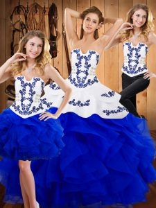 Floor Length Lace Up Sweet 16 Dress Blue for Military Ball and Sweet 16 and Quinceanera with Embroidery and Ruffles