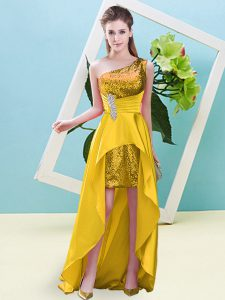 Clearance Beading and Sequins Prom Party Dress Gold Lace Up Sleeveless High Low
