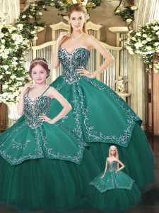 Ideal Sweetheart Sleeveless Lace Up Sweet 16 Dresses Dark Green Satin and Tulle