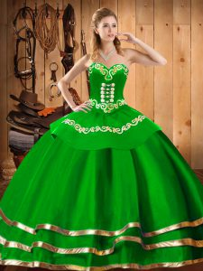 Dramatic Floor Length Green Quinceanera Dress Sweetheart Sleeveless Lace Up