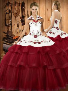 Wine Red Quinceanera Dresses Military Ball and Sweet 16 and Quinceanera with Embroidery and Ruffled Layers Halter Top Sleeveless Sweep Train Lace Up