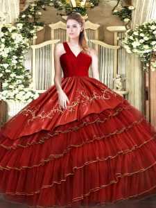 Super Wine Red Sleeveless Floor Length Embroidery and Ruffled Layers Zipper 15 Quinceanera Dress