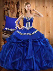 Royal Blue Ball Gowns Embroidery and Ruffles Quinceanera Gown Lace Up Organza Sleeveless Floor Length