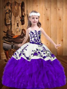 Sleeveless Floor Length Embroidery and Ruffles Lace Up Pageant Dress Toddler with Purple