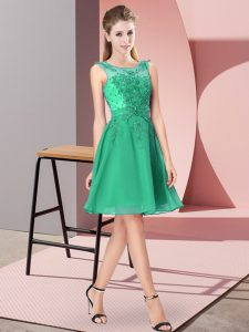 Scoop Sleeveless Chiffon Damas Dress Appliques Zipper