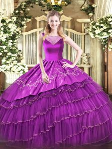 Captivating Sleeveless Side Zipper Floor Length Beading and Embroidery Quinceanera Gowns