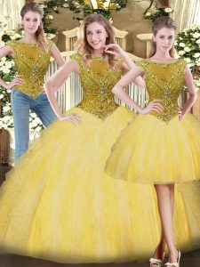 Custom Designed Gold Tulle Zipper Scoop Sleeveless Floor Length Ball Gown Prom Dress Beading and Ruffles