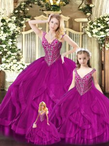 Eye-catching Sleeveless Tulle Floor Length Lace Up Quinceanera Dress in Fuchsia with Beading and Ruffles