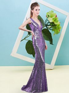 Designer Eggplant Purple Zipper Prom Dress Sequins Sleeveless Floor Length