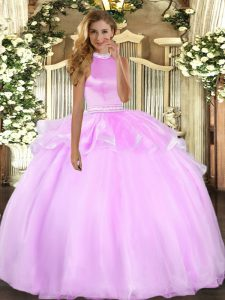 New Arrival Lilac Tulle Backless Halter Top Sleeveless Floor Length Vestidos de Quinceanera Beading and Ruffles