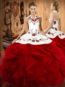 Chic Wine Red Halter Top Neckline Embroidery and Ruffles Quinceanera Gown Sleeveless Lace Up