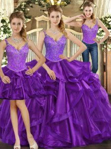 Purple Sleeveless Organza Lace Up Quinceanera Gowns for Military Ball and Sweet 16 and Quinceanera