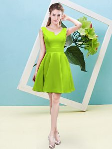 Custom Design A-line Court Dresses for Sweet 16 Yellow Green Asymmetric Satin Sleeveless Mini Length Zipper