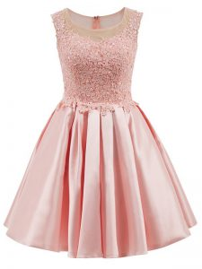 Edgy Baby Pink Scoop Neckline Lace Dama Dress for Quinceanera Sleeveless Zipper