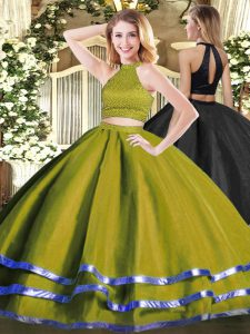 Hot Selling Two Pieces Sweet 16 Dresses Olive Green Halter Top Tulle Sleeveless Floor Length Backless