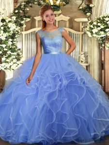 Floor Length Ball Gowns Sleeveless Blue Quinceanera Gowns Backless
