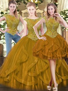 Brown Quinceanera Gowns Military Ball and Sweet 16 and Quinceanera with Beading and Ruffles Scoop Sleeveless Zipper