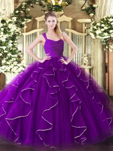 Glamorous Eggplant Purple Sleeveless Organza Zipper Sweet 16 Dresses for Military Ball and Sweet 16 and Quinceanera
