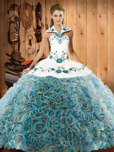 Fine Multi-color Sleeveless Fabric With Rolling Flowers Sweep Train Lace Up 15 Quinceanera Dress for Military Ball and Sweet 16 and Quinceanera