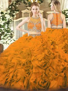 Smart Orange Red Scoop Neckline Beading Quinceanera Dresses Sleeveless Zipper