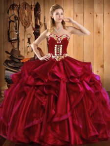 Sweetheart Sleeveless 15 Quinceanera Dress Floor Length Embroidery and Ruffles Wine Red Organza