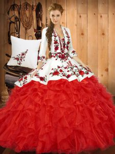 Dazzling Red Lace Up Sweetheart Embroidery and Ruffles 15 Quinceanera Dress Tulle Sleeveless