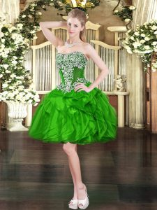 Beading and Ruffles Prom Party Dress Green Lace Up Sleeveless Mini Length