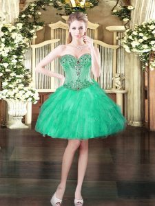 Superior Turquoise Sleeveless Mini Length Beading and Ruffles Lace Up Prom Party Dress
