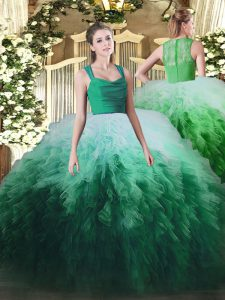 Straps Sleeveless Tulle Ball Gown Prom Dress Ruffles Zipper
