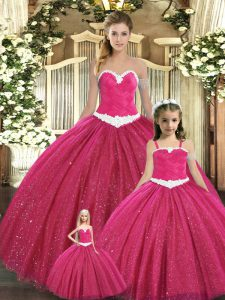 Customized Sweetheart Sleeveless Tulle Quinceanera Dresses Ruching Lace Up