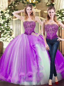 Low Price Beading and Ruffles Sweet 16 Quinceanera Dress Eggplant Purple Lace Up Sleeveless Floor Length
