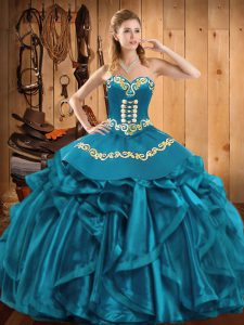 Great Teal Sweetheart Lace Up Embroidery and Ruffles Sweet 16 Dress Sleeveless