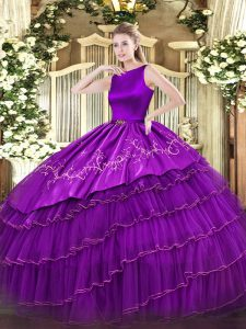 Purple Sleeveless Organza Clasp Handle 15th Birthday Dress for Military Ball and Sweet 16 and Quinceanera