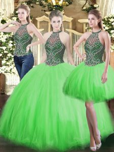 Deluxe Floor Length Lace Up Quince Ball Gowns for Military Ball and Sweet 16 and Quinceanera with Beading