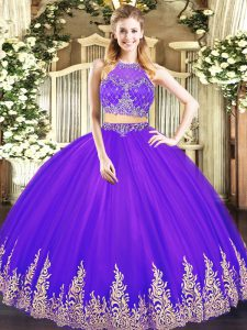 Super Purple Sleeveless Tulle Zipper 15th Birthday Dress for Military Ball and Sweet 16