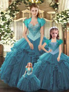 Teal Sleeveless Floor Length Beading and Ruffles Lace Up 15 Quinceanera Dress