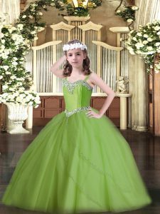 Hot Sale Girls Pageant Dresses Tulle Sweep Train Sleeveless Beading