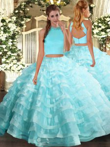 High Class Sleeveless Beading and Ruffled Layers Backless Quinceanera Dresses