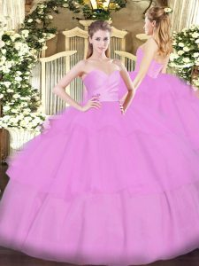 Lilac Quinceanera Gown Military Ball and Sweet 16 and Quinceanera with Beading and Ruffled Layers Sweetheart Sleeveless Lace Up