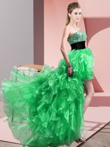 Spectacular Green Sweetheart Lace Up Beading and Ruffles Prom Evening Gown Sleeveless